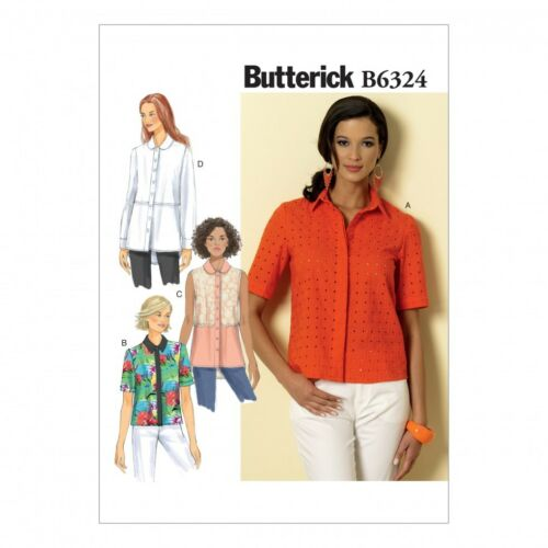 Free UK P/&P Butterick Ladies Easy Sewing Pattern 6324 Button Down Colla...