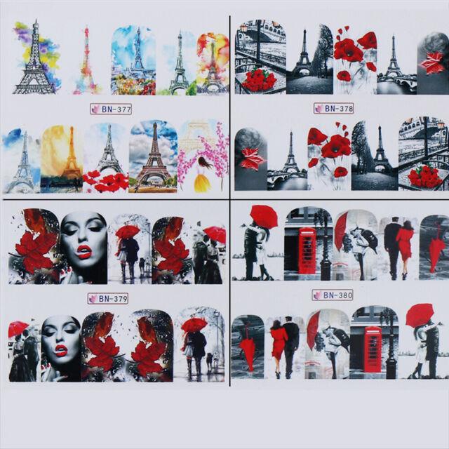 Maple Pattern Eiffel Tower Valentine Manicure Decals Foil  Nail Art Stickers