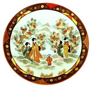 "Antique SIGNED Asian Japanese SATSUMA CHARGER Porcelain Gilded PLATE BOWL 14.25"""