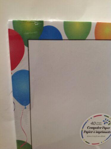 "Computer Printer Paper New Balloons Border 40 Sheets 8.5/""x11/"" Stationery"