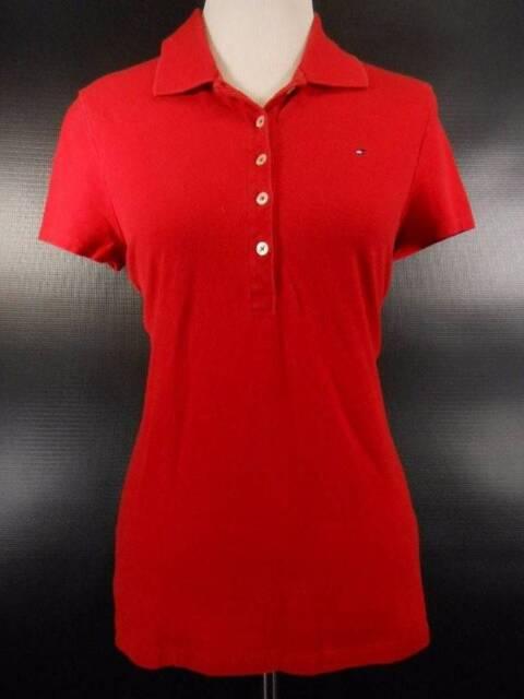 Beautiful Women's Medium Tommy Hilfiger Red Short Sleeve Polo Shirt GUC