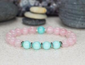 8mm-rose-quartz-Amazonite-Bracelet-Wrist-Meditation-Chakas-yoga-Healing-Bless