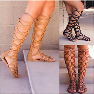 Vintage Women Knee High Cut Out Bandage Flat Sole Gladiator Summer Sandals Shoes