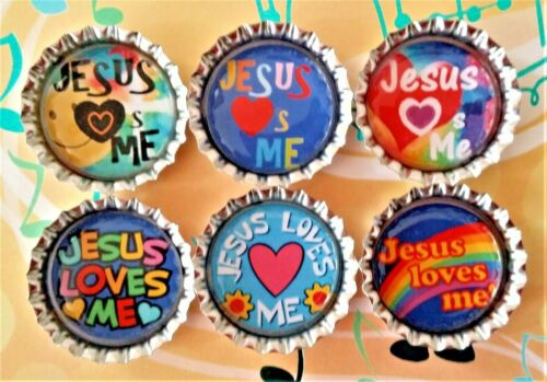 Six Jesus Loves Me Images In Silver Bottle Caps Magnets