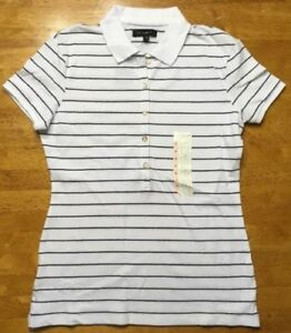 NWT The Limited Women s White   Blue Striped Short Sleeve Polo Shirt ... 3baf447297