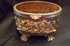 Vintage Gold Ormolu Oval  Tinted  Beveled Glass Jewelry Casket Box