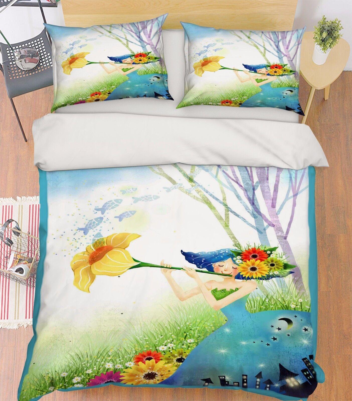 3D Flower Girl 744 Bed Pillowcases Quilt Duvet Cover Set Single Queen UK Summer