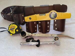 Echafaudage-en-cuir-marron-ceinture-Heavy-Duty-Plein-Jeu-d-039-outils-a-cliquet-cle-19-21