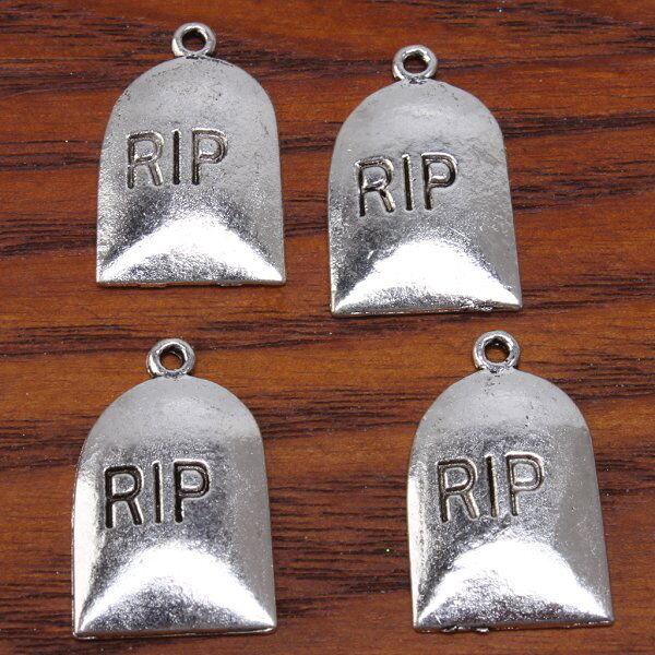 50Pcs Lots Antique Silvery Rest In Peace Halloween Charm Pendants Findings JJ