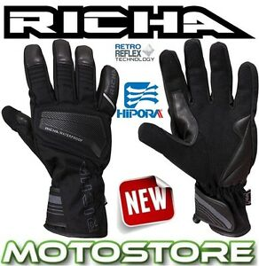 RICHA-CAVE-THERMAL-WATERPROOF-BLACK-LEATHER-TEXTILE-MOTORCYCLE-MOTORBIKE-GLOVES