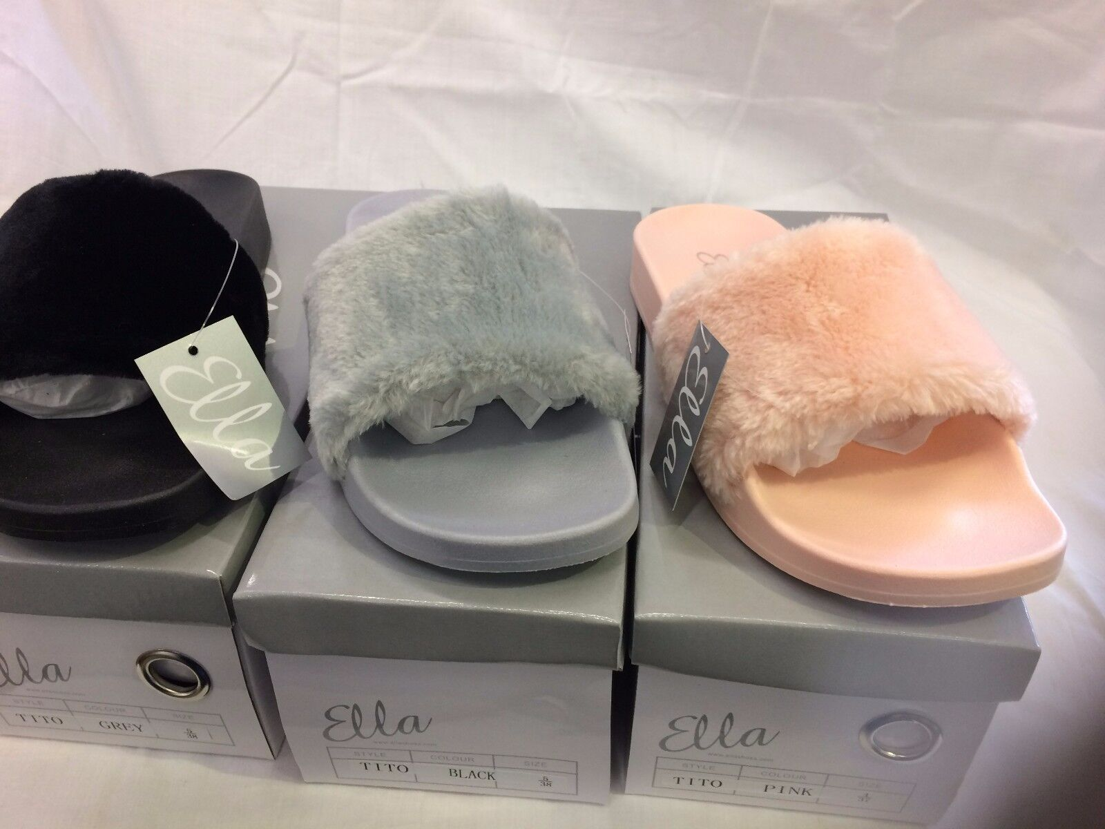 FUR OPEN TOE LADIES WOMENS ON ELLA MULE SANDALS SLIP ON WOMENS FAUX FUR SOFT SLIDERS 3-8 fcaa9d