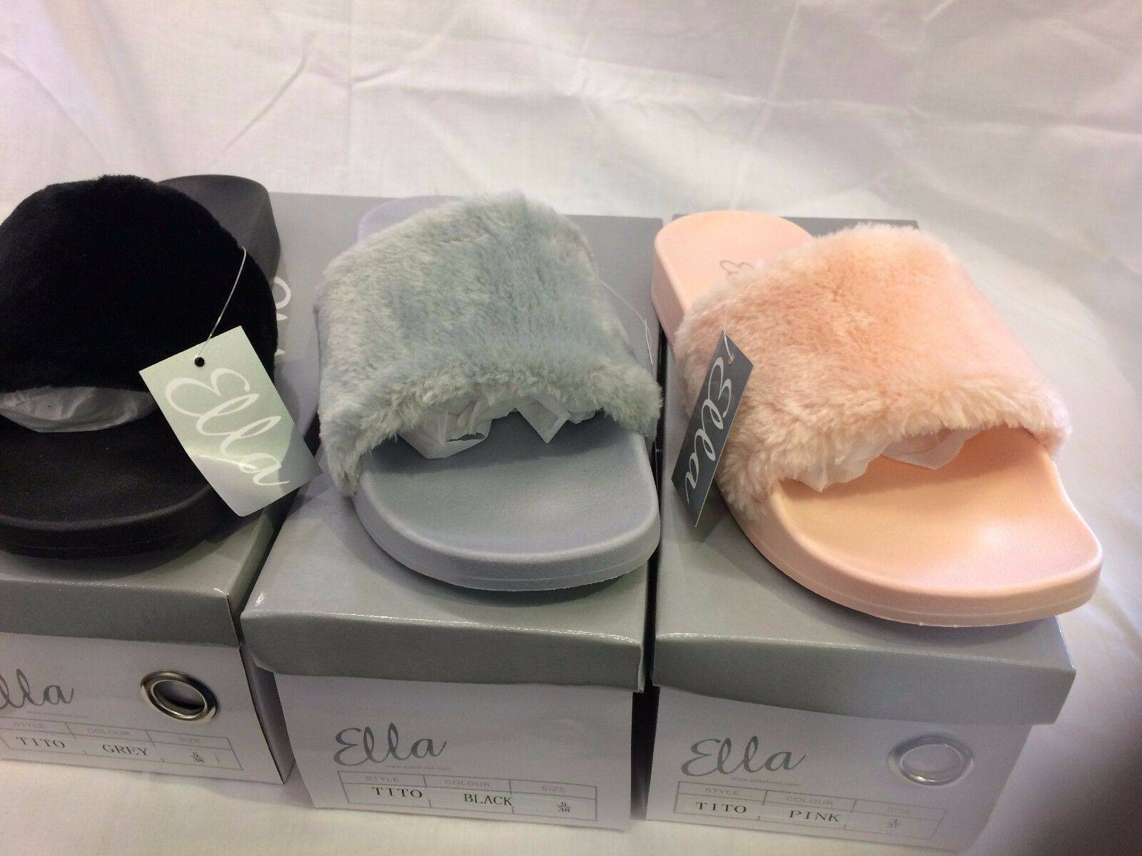 FUR OPEN TOE LADIES WOMENS ON ELLA MULE SANDALS SLIP ON WOMENS FAUX FUR SOFT SLIDERS 3-8 2a9aee