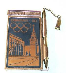 Note book in metal casing - Moscow 1980 Olympic games souvenir - very rare