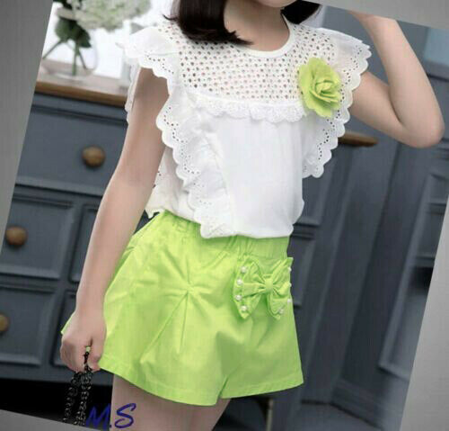 Girls Top Shorts set Lace Outfit Kids Summer Short sleeve Sets Age 3-11 years