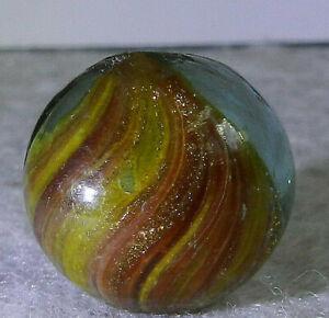 #11311m Vintage German Slightly Shrunken Handmade Onionskin Lutz Marble .66 In