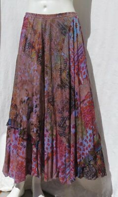 URU USA Hand Dyed Print Patchwork Rayon Pull On Full Long Skirt size 0S M L EUC