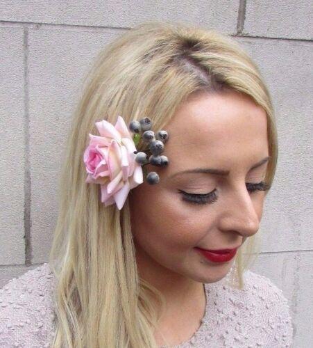 Blush Light Pink Grey Rose Berry Flower Hair Clip Fascinator Bridal Vintage 3298