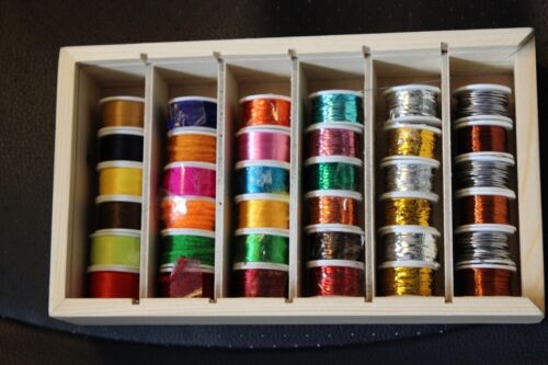Fly Tying 36 spools Lurex tinsel Wires Flosses and Wools boxed clear sliding lid