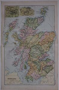 1910 ORIGINAL MAP SCOTLAND HEBRIDES ARGYLL PERTH INVERNESS EDINBURGH GLASGOW