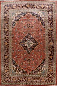 Vintage-Traditional-Ardakan-Floral-Area-Rug-Hand-Knotted-Oriental-Carpet-10-039-x13-039