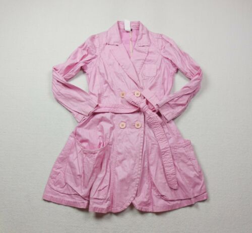 Sonia Rykiel Trench Coat Womens Large Pink Linen C