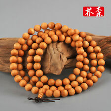 "Long Fragrant 8mm Pure Sandalwood Buddhist Mala 108 Prayer Beads Necklace - 32"""
