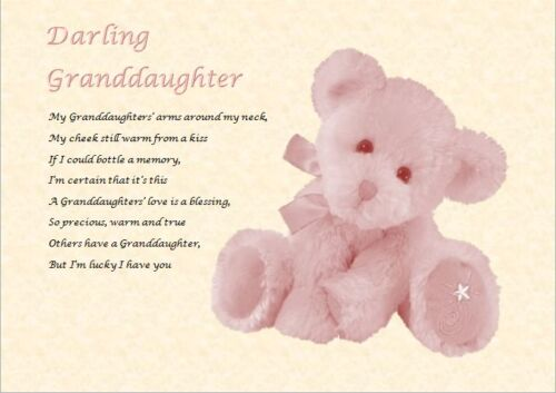 GRANDDAUGHTER GIFT personalised if required Laminated poem