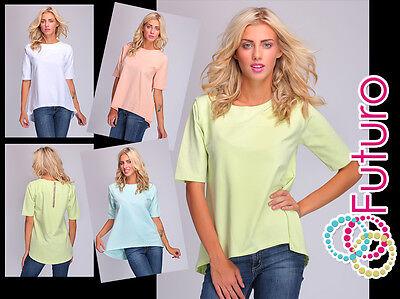 Womens Oversized Asymmetric T-Shirt Short Sleeve Top Blouse Size 8-14 FT2066