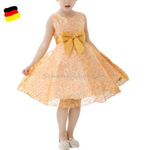ad54fc534ae Das Bild wird geladen Maedchen-Kinder-Kleid-Hochzeit-Abendkleid-Gold- Kommunionkleid-Festkleid-