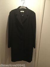 PRADA Size 48 US 14 Classic Black Long Tailored Wool Coat Authentic