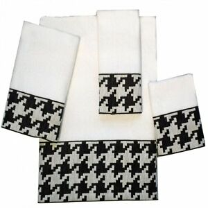 Houndstooth Bath Towel Collection Black White By Avanti Ebay