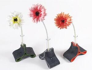 Filz-Vase-inkl-2-Reagenzglaeser-Tisch-Deko-Blume-gruen-orange-grau