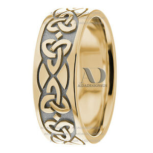 Image Is Loading Trinity Knot Celtic Wedding Band 8mm Two Tone