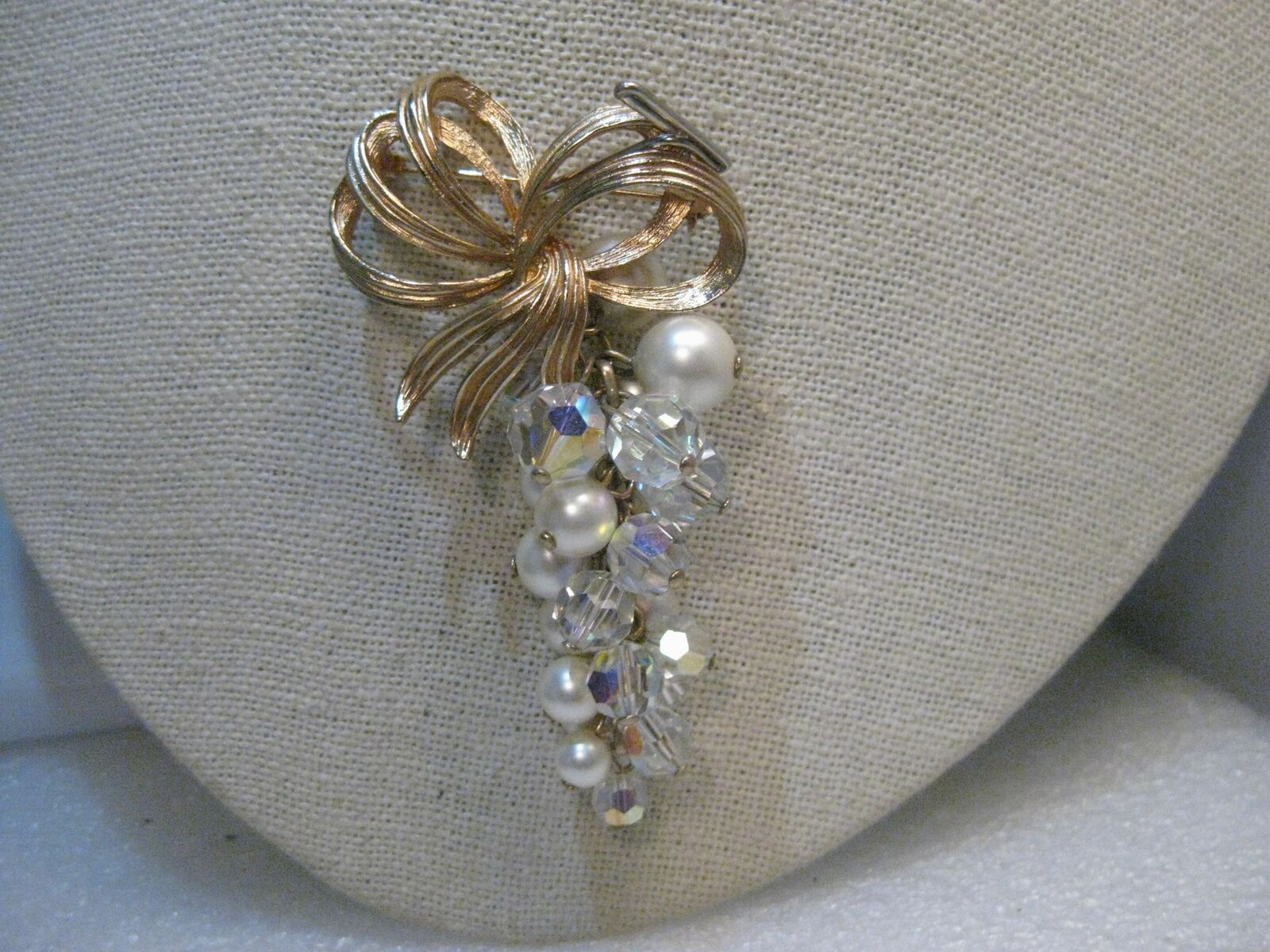 Bow & Dangling Cluster of Pearls Brooch, Aurora Borealis Crystals, 2.75   Long