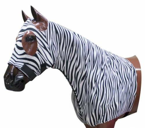 X-LARGE Showman Form Fitting Breathable ZEBRA Lycra® Hood with Zipper Neck