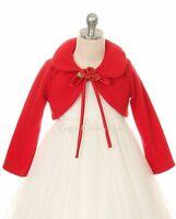 Red Flower Girl Bolero Jacket Coat Wrap Wedding Christmas Pageant Birthday 216