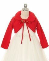 Red Flower Girl Bolero Jacket Coat Wrap Wedding Christmas Pageant Birthday 216
