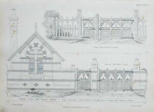 1868-Architektonisch-Aufdruck-Huette-Orne-Muehle-Gruen-Essex-Tor-Eingang-Fachwerk
