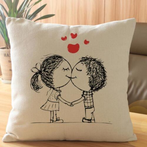 Cotton Lovers Painting Throw Waist Pillow Case Cushion Cover Home Sofa Decor