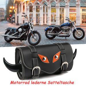 Motorrad-Leder-Tool-Roll-Satteltasche-fuer-Harley-Davidson-Sportster-Fatboy