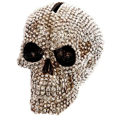 Studded Skull Money Box Metallic Sparkling Silver or Gold Finish 12cm Tall NEW
