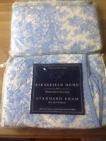 Ridgefield Home Pair (2) 100% Cotton Standard Pillow Sham, Blue And White Floral