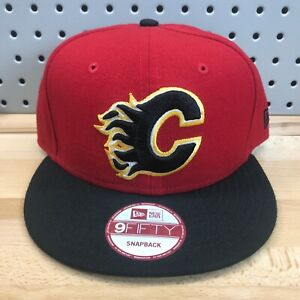 Calgary-Flames-NHL-Hockey-New-Era-9FIFTY-SnapBack-Cap-EUC-Red-amp-Black-Hat-NICE