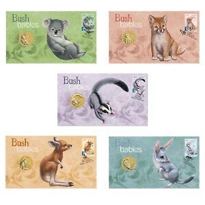 2011-Australian-Bush-Babies-PNC-Stamp-amp-1-UNC-Coin-Covers-Set-of-5