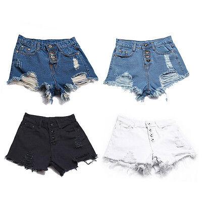 Summer Women Vintage High Waist Shorts Jean Torn Hole Short Jeans Shorts Cutoffs
