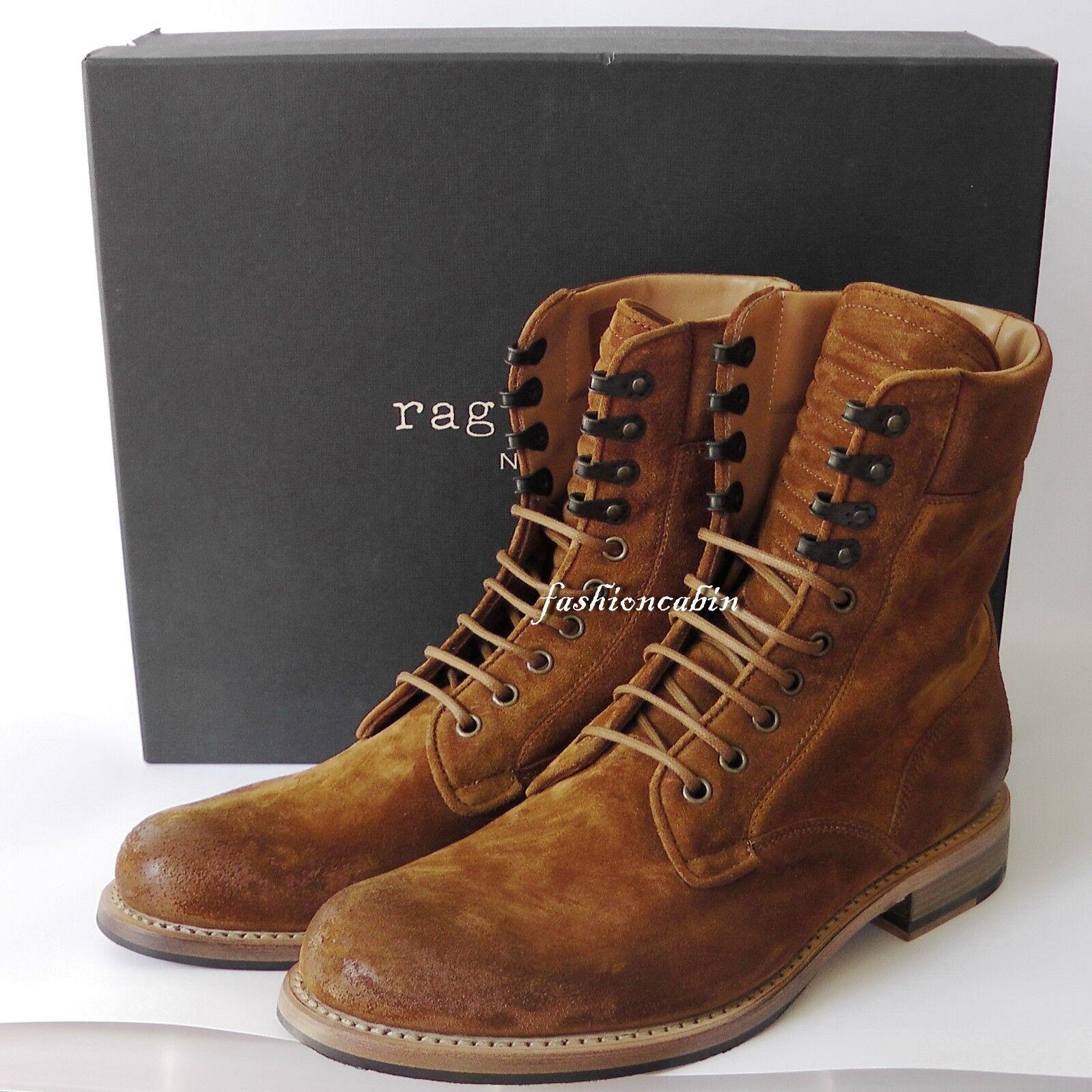 New with Box Rag & Bone Spencer Suede Military Boot Shoe, COGNAC, EU43, MSRP 595