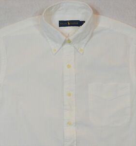 Ralph Lauren Seersucker Shirt White Button Front Chest Pocket Size