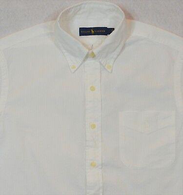 Ralph Lauren Seersucker Shirt Blue White Button Front With Chest