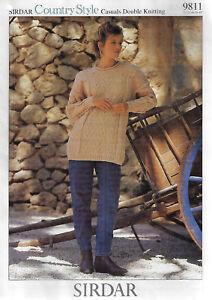Women-039-s-Cable-Aran-Sweater-Sirdar-9811-knitting-pattern-DK-winter