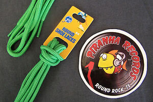 Green-Thin-Round-54-034-x-1-8-034-3-8-034-JN-Shoelaces-Shoe-Strings-Piranha-Records